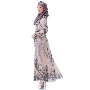 Elastic Waist Muslim Robes Women Lady Long Sleeve Party Dress(Brown)