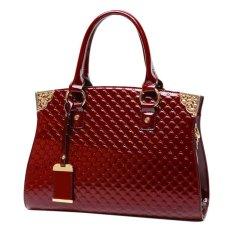 Elegant Patent Leather Knurling Pattern Portable Shoulder Bag Tote Bag (Wine Red)