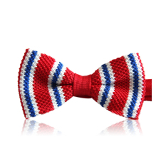 ELENXS Mens Stripes Knitted Bow Tie (Red)