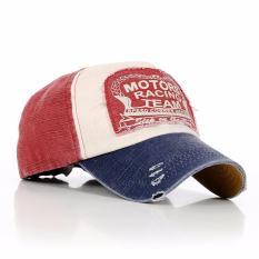 ELENXS Topi Pria Wanita Baseball Golf Katun Unisex Vintage Headpiece - Mudah Diatur - Wine Red-Blue