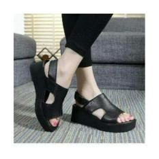 Ellen Grosir - Wedges Wanita Black Queen