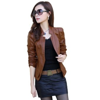 177d5910f15 EOZY Korean Style Women PU Leather Motorcycle Jacket All-match Ladies  Casual Long Sleeve Outerwear