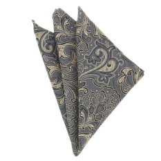 """EOZY Men's Elegant Business Pocket Square Fashion Big Flower Design Pocket Square A€"""" Grey"""