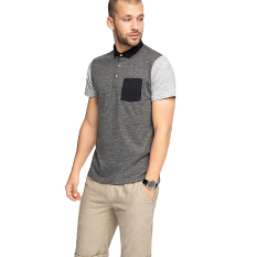 Esprit Colour Block Jersey Polo, Cotton Blend - Anthracite