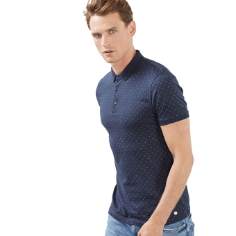 Esprit Jersey Printed Polo - Navy
