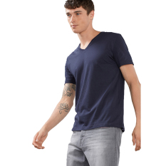 Esprit Jersey V-Necked T-Shirt In 100% Cotton - Cinder Blue