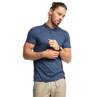 Esprit Melange Jersey Polo Shirt In Blended Cotton - Navy