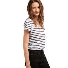 Esprit Nautical Cotton T-Shirt With A Slogan - Grey Blue