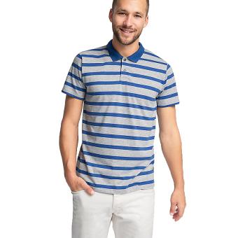 Esprit Striped Blended Cotton Jersey Polo Shirt - Medium Grey