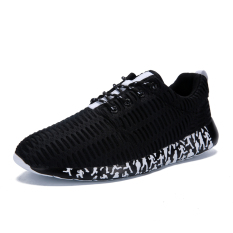 ESSAN New Fashion Men Casual Sneakers Macroporous Mesh Breathable Flats Sports Shoes (Black)