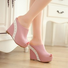 Europe Night Club High Heeled Thick Bottom Large Size Slippers Shoes Fish Mouth Wedges Sexy Sandals