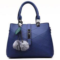 European Style Fur Ball Ornament Stitch Pattern Women Handbag Shoulder Bag - Intl