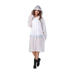 EVA Resin Non-toxic Lightweight Transparent Rain Jacket Poncho Raincoat M (White)