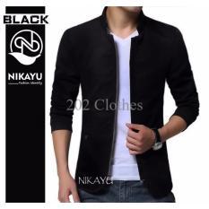 Exclusive Blazer ZIPPER - Baju Pakaian Semi Jaket Pria Resleting Hitam Korea Terlaris
