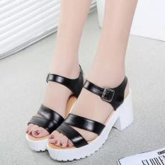 Factory direct sale Women Summer shoes white Black fashion platform soft PU sandals women's high-heeled shoes thick heel sandals(Black)