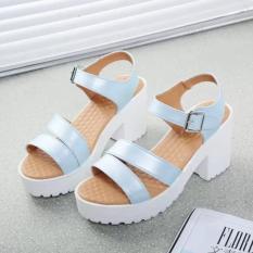 Factory direct sale Women Summer shoes white Black fashion platform soft PU sandals women's high-heeled shoes thick heel sandals(Blue)