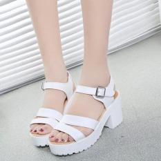 Factory direct sale Women Summer shoes white Black fashion platform soft PU sandals women's high-heeled shoes thick heel sandals(White) - Intl