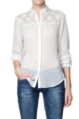 Fancyqube 2015 New Fashion Women Chiffon Blouse Sexy Long Sleeve Stand Collar Pure Color Perspective Lace Chiffon Shirt White