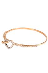 Fancyqube Hollow Love Heart-Shaped Crystal Bangle Bracelet Gold
