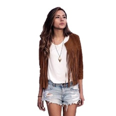 Fancyqube Women Jacket Casual Fashion Autumn Summer O-neck Tassel Coat Jacket Khaki
