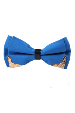 Fang Fang Celebrity Solid Satin Adjustable Tuxedo Wedding Party Men Bow Tie Bowtie Necktie (Blue)
