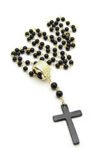 Fang Fang Cross Pendant Black Rosary Beads Necklace Chain Black