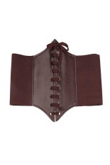 Fang Fang Fashion Ladys Wide Elastic Faux Leather Belt (Coffee)