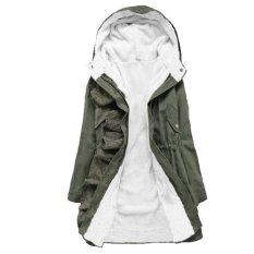 Fang Fang Ladies Winter Warm Long Parka Zip Up Inner Fleece Coat Jacket (Green)