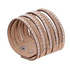 Fang Fang Leather Wrap Wristband Cuff Bracelet Camel