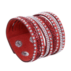 Fang Fang Multi-layer Leather Wrap Wristband Cuff Bracelet Red