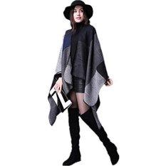 Fang Fang Women's Winter Reversible Oversized Blanket Poncho Cape Shawl Cardigans (Black)