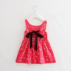 Fashion anak perempuan katun bunga ceri manis gaun putri gaun - naik merah bunga