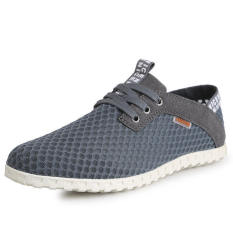 Fashion Breathable Mesh Sport Lace-Ups Men Low Cut Sneakers-Grey