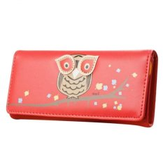 Fashion Clutch Checkbook Change Coin Bag Cartoon Owl Women Purse Handbag Wallet Watermelon Red