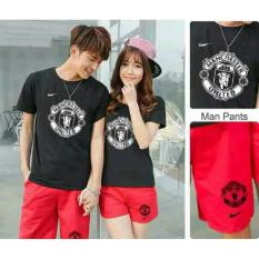 FASHION FLOWER STELAN PASANGAN STELAN COUPLE MANCHESTER UNITED BLACK RED ATASAN .
