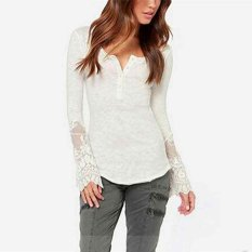 Fashion Ladies Women Sexy Long Sleeve Lace Patchwork T-shirt Casual Basic Slim Tops-white-S (EXPORT)