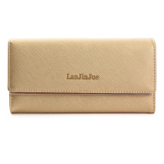 Fashion Lady Women Leather Long Wallet Card Holder Purse Folding Clutch Handbag Gold Yellow NEW - Intl