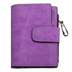 Fashion Lady Women PU Leather Clutch Wallet Short Card Holder CasePurse Handbag Purple - Intl