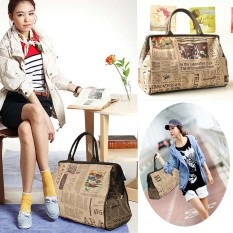Fashion Large Travel Bag Shoulder Bag Briefcase Shopper Handbag Purse Organizer Retro Newspaper
