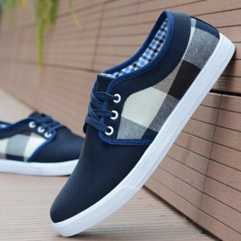 Fashion Men Casual Canvas Shoes Fashion Breathable Shoes Sneaker Flat Shoes (Blue) - Intl