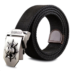 Fashion Men's Canvas Belt Skull Metal Tactics Woven Belt Canvas Belt Casual Pants Cool Wild Gift For Men Belts Skull Large Size - Intl