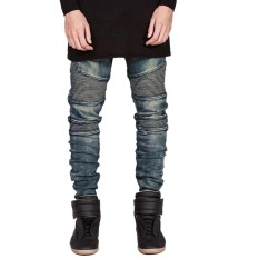 Fashion Mens Designed Straight Slim Biker Jeans (Intl)