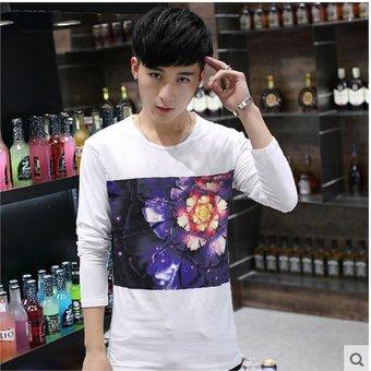 Fashion Mens Flower Casual Slim Fit Long Sleeve Polo Shirt T-shirts Tee Shirt Men - intl