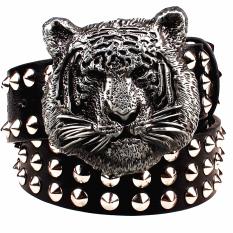 Fashion Metal Rivet Belt Metal Buckle Men's Belts Cartoon Animal Tiger Head Heavy Metal Style Belt Punk Rock Big Rivet Belt - Intl