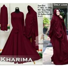 FASHION MUSLIM / Gamis Jumbo Karima Jersey- Baju Gamis Wanita- Gamis Bigsize Maron