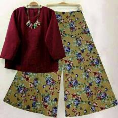 FASHION MUSLIM / Set Kulot 3 Maroon Pakaian Wanita Baju Setelan Wanita Dewasa