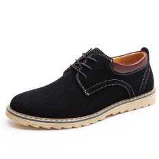 Fashion New Men's Casual Lace-up Wear-resisting Leather Shoes (Black) - Intl