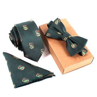 Fashion Polyester Silk Neckties + Handkerchief + Bow Tie Set Skinny Ties Pocket Square Towel Bowtie Wedding For Men