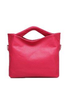 Fashion PU Korean Candy Color Handbag Tote Bag Cross-body Bags (Rosy)