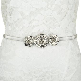 Fashion Wanita Chic sabuk logam mawar jepitan 24 pereganganpinggang tali pengikat elastis pegas ikat pinggang emas